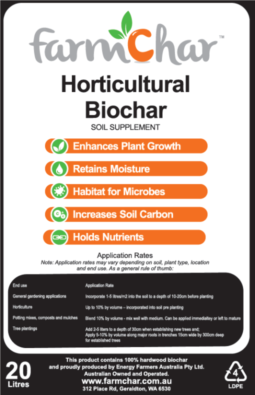 Farmchar Horticultural Biochar Label
