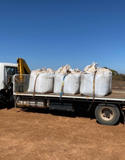 Biochar bulka bags on truck